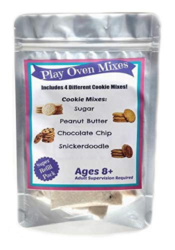Children's Easy to Bake Oven Mixes Play Toy Real 4 Cookie Super Pack Refill Kit Sugar Peanut Butter Chocolate Chip Snickerdoodle Ultimate Set Cooking Baking Supplies Net Wt 4.8 oz