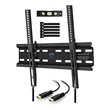 Tilting TV Wall Mount Bracket Low Profile for Most 23-55 Inch LED, LCD, OLED, Plasma Flat Screen TVs with VESA up to 115lbs 400x400mm - Bonus HDMI Cable and Cable Ties by PERLESMITH