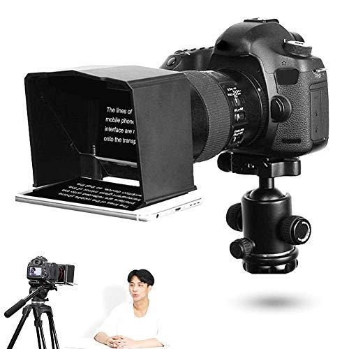 Mugast Tragbarer Smartphone Teleprompter mit 8 Objektiv Adapterringen, 122 * 110 * 85 mm / 4,8 * 4,3 * 3,3 Zoll Teleprompter für Interview, Sprache, TV Show usw.