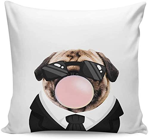 Funny Animals - Fundas de almohada de lona para sofá, cama, sofá, sala de estar, decoración al aire libre, 45,7 x 45,7 cm, para perros en trajes con gafas y burbujas rosadas