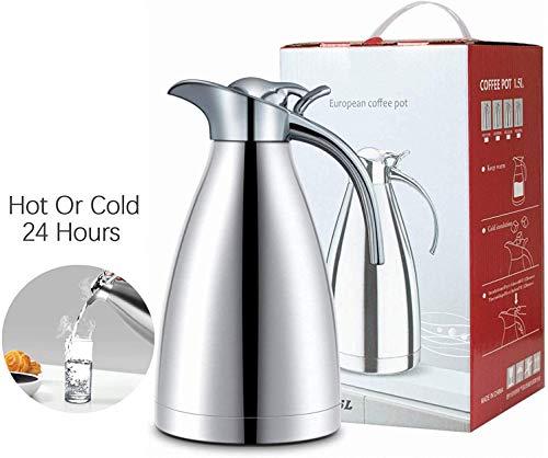 Oprety thermoskan, roestvrij staal, 1,5 l, koffiethermoskan, dubbelwandig, vacuümkan, quick tip-sluiting voor koffie/thee/sap