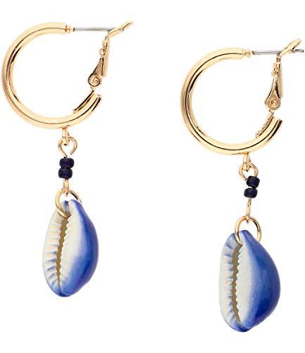 SIX Creolen mit blauen Perlen und Muschel-Anhängern (608-030)