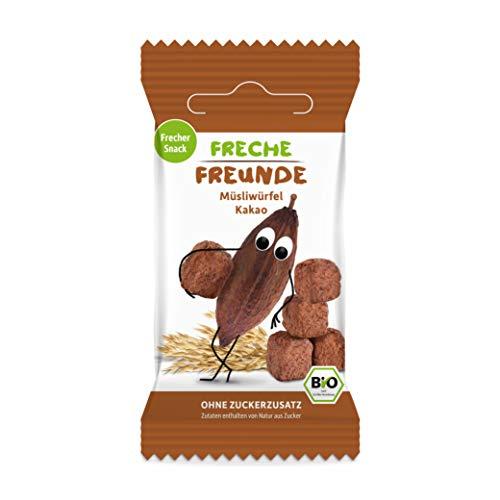 FRECHE FREUNDE Bio Müsliwürfel Kakao, Bio Pausen Snack für Kinder & Fingerfood, vegan,180 g, 0017