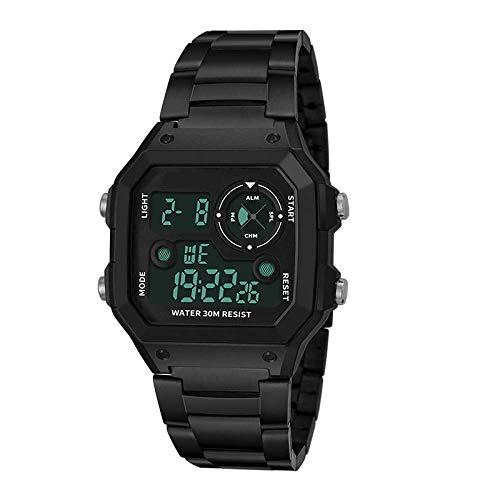 AYDQC Plaza Reloj electrónico del Reloj Masculino Estudiante Impermeable Digital Multifuncional al Aire Libre del Alpinismo de Acero Correa de Reloj electrónico fengong (Color : Full Black)