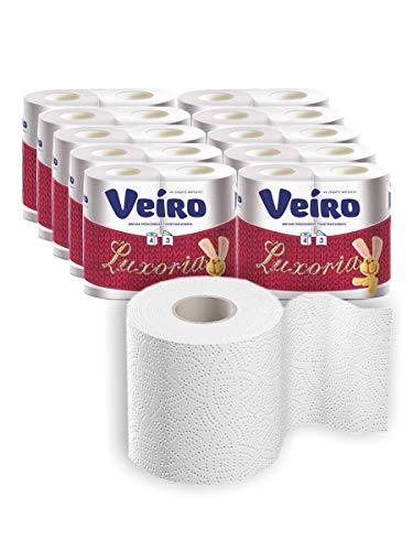 Veira 40- Rollen Toilettenpapier in Großmengen, Bad Seidenpapier Rolle, 145 Blättern pro Rolle, 3-lagig ultraweich