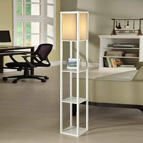 Shelf Floor Lamp Study Verticaal Rekken Plein Staande Lamp Bloem Houten Vloer Lamp Slaapkamer Vloerlamp Plank Lamp LED (Color : Black)