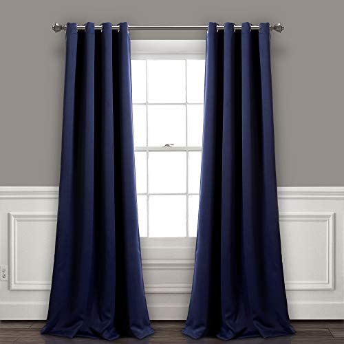 """Lush Decor Curtains-Grommet Panel with Insulated Blackout Lining, 84"""" L Pair, Navy"""