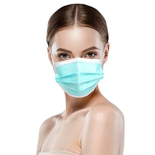 50 Stück Grün Einmal-Mundschutz, Staubs-chutz Atmungsaktive Mundbedeckung, Erwachsene, Bandana Face-Mouth Cover Sommerschal (j)
