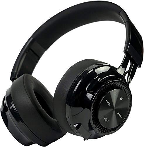 PowerLocus Bluetooth Auriculares Diadema P3,[Bluetooth 5.0,40h de música] Cascos Bluetooth Inalámbrico Plegable Casco Bluetooth y Audio Cable Sonido Estéreo con Micrófono para iPhone, Móviles, TV, PC