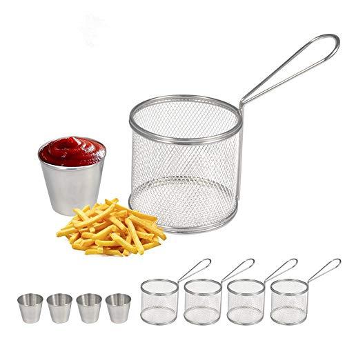 Delaman Fry Baskets Mini Runde Edelstahl Pommes Frites Friteuse Korb, mit Cup, Kochwerkzeug (Size : 4 Set)