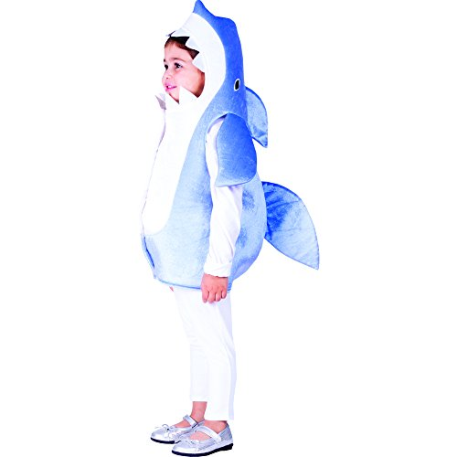 Dress Up America- Costume d'enfant Requin Bleu Ciel Tiburón, Color White Blue, Talla 4-6 años (Cintura: 71-76, Altura: 99-114 cm) (768-S)