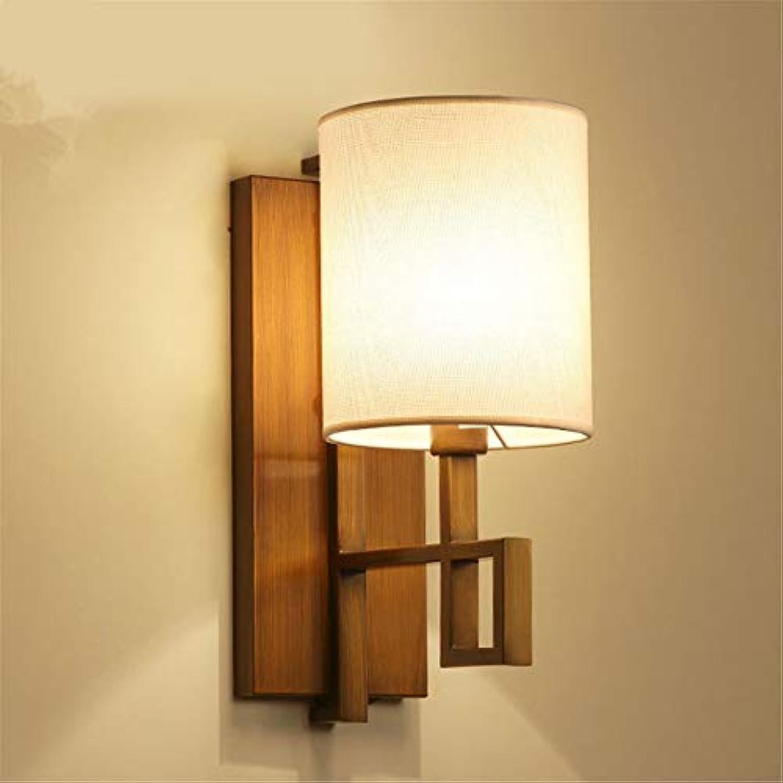 Wandleuchte Wandleuchte E14 Stil LED Metall Tuch Wandleuchte Moderne Einfache Kreative Schlafzimmer Nachttischlampe Retro Kreative Balkon Massivholz Wandleuchte Ohne Lichtquelle für Schlafzimmer Gang
