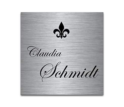 Edelstahl Türschild mit Gravur | Namensschilder Briefkastenschild selbstklebend oder mit Bohrlöcher 8x8 cm eckig mehr als 80 Motive Klingelschild - Türschilder für die Haustür mit Namen