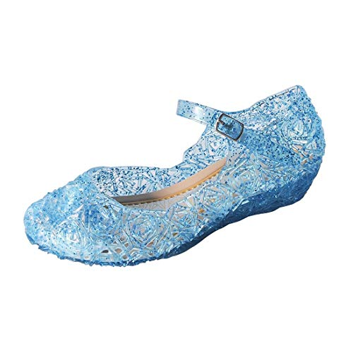 ON Princess Girls Queen Dress Up Cosplay Jelly Shoes for Kids Toddler Dance Party Sandals Mary Janes Blue