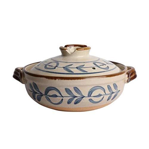 XinLuMing Cerámica Japonesa Hot Pot Casserole Banco de gres Clay Pot Casserole Redondo Calor Resistente al Calor Suministro Pot Salud Cocina Lenta para Tripe arroz (Color : B, Size : 0.8L)