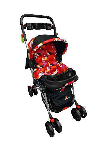 Sunbaby Bloom Stroller/Pram for New Born 0-3 years,Extra wide/Thick Cushion seat,2 food trays, Reversible Handle,Mosquito Net for kids/Toddler,Foldable Canopy Stroller