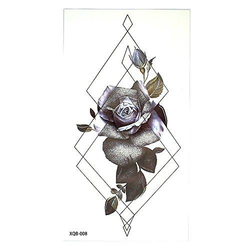 Lignes Tattoo Line Tattoo Rose Noir Violet graphique tatouage Faux tatouages xq008