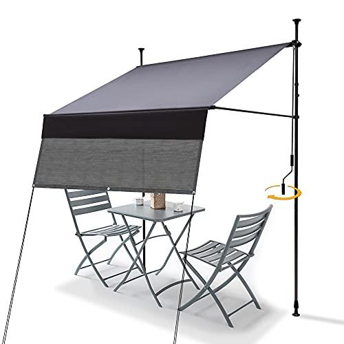Klemmmarkise Markise Balkon (300 cm x 130 cm) Anthrazit mit Balkon Sichtschutz, Sonnenschutz Balkonmarkise ohne Bohren mit Handkurbel, UV-beständig und höhenverstellbar