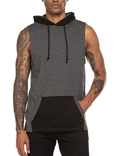 Coofandy Mens Casual Hipster Hip Hop Sleeveless Lace-up Tank Hooded,Grey,Medium