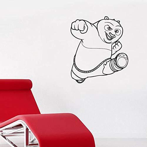 Etiqueta engomada de la pared del oso grande de dibujos animados Oso de Kung Fu Decoración de la casa del dormitorio de los niños Etiqueta de la pared del arte de la pared divertida 63X72cm