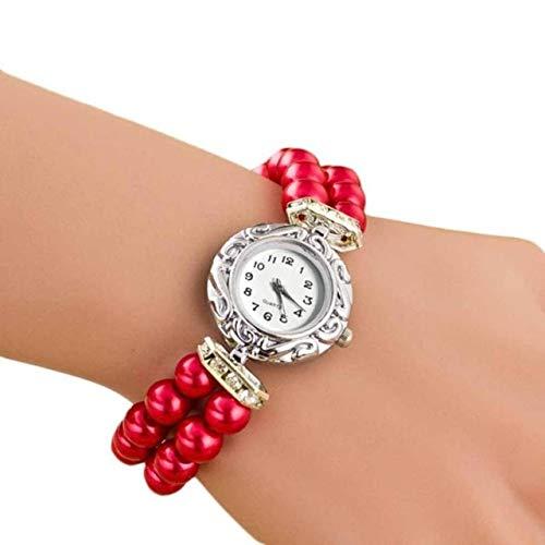 HUANGMENG Las Mujeres del Reloj de la Perla Reloj Pulsera de Cuarzo (Azul) (Color : Red)