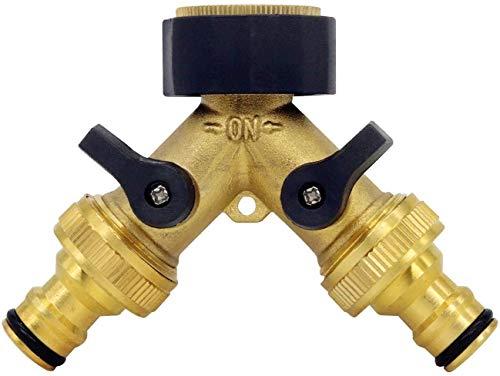 U-Tote 2-Wege-Ventil für Gartenschläuche, Wasserverteiler für alle Wasserhähne, universaler, regulierbarer 2-Wege-Verteiler,inklusive 2 x ¾-Zoll-Messing Wasserhahn Anschluss