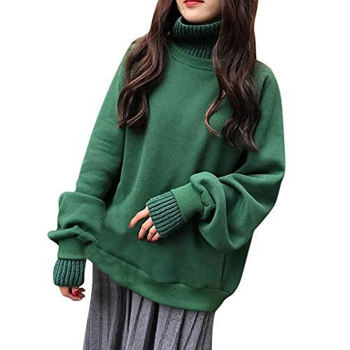 Dasongff dames meisjes pullover hoodie rolkraag sweatshirt lange mouwen blouse trui casual lantaarn sleeves outwear hooded los rolkraagpullover X-Large groen