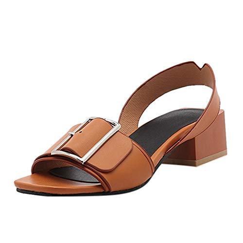 Luckycat Sandalias de Vestir, Mujer Sandalias Planas Verano Tobillo Correa Hebilla Zapatillas Plataforma Zapatos Plano Cómodos Sandalias con Punta Abierta