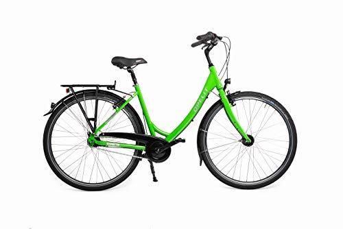 "OPELIT Mainhattan C200 Fahrrad, 7 Gang Citybike mit Rücktritt, 50 cm Rahmenhöhe, Alu Rahmen 28"" grün – Schaltung, Bremse, Dynamo von Shimano"