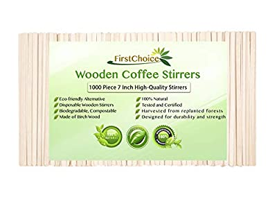 1000 Disposable Wooden Coffee Stirrers - 7 Inch Length Round Corners Wooden Coffee Stirrers By First Choice (1000 Stirrers)