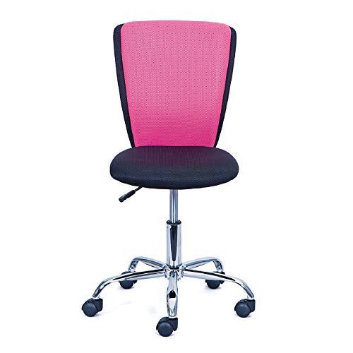 Inter Link Chaise de bureau enfant piètement métal revêtement tissu mesh noir et rose