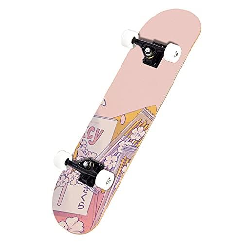 qiaoliang Skateboards Completa Standard Skateboards para Principiantes Niños Boys Girls Adolescentes Adulto, 7 Capas Maple Doble Kick Tricks Skate Board Highway Brush Street Skate Boards