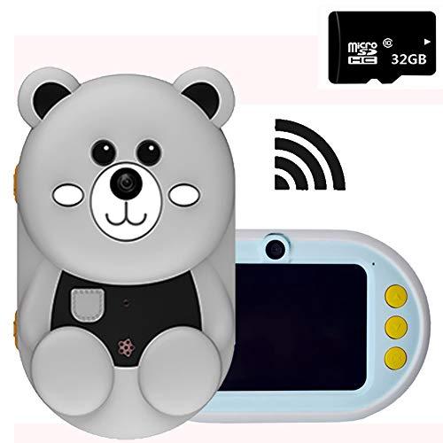 ROCK1ON WiFi Kinderkamera Kaninchen Digitale Kamera für Kinder 32MP HD 1080P 2.4-Zoll Nachtaufnahme-Funktion Videokamera mit 32GB TF-Karte Silikonhülle Weihnachten Geschenk,C