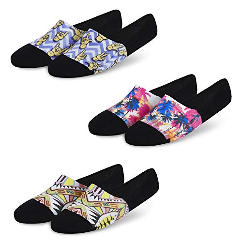 Dynamocks Men and Women Combed Cotton Invisibles Loafer Socks with Anti-Slip Silicon (Multi-Coloured; Free Size) Pack of 3 - #2...