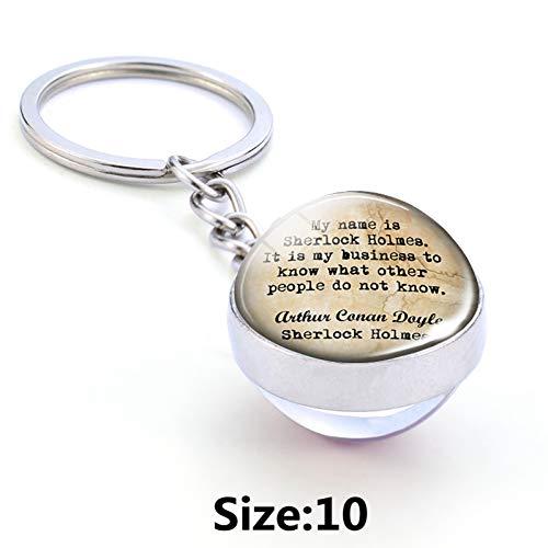 YQCZ Llavero Sherlock Holmes Metall Llavero Doppel Seite Glas Ball Schlüssel Kette Schlüssel Ringe Geschenk Für Film Fans Detektiv Polizisten,Size 10