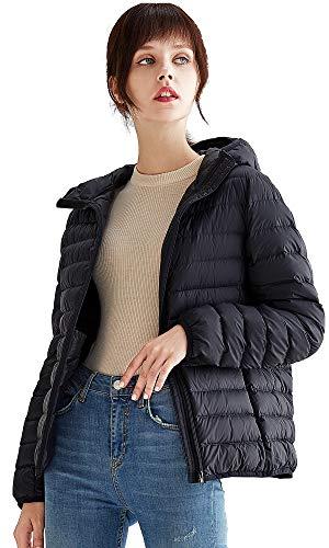 VUTOLEE - Chaqueta de plumón con capucha para mujer, ligera, plegable, ultraligera, con capucha, transpirable, cálido, para invierno, abrigo L02 -  Negro -  38 ES/40 ES/M hombro 40 cm,busto 100 cm