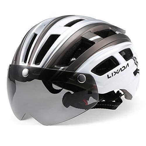 Lixada Casco da Bici Leggero Casco per Motociclismo con Retroilluminazione Staccabile Visiera Magnetica Adulto da Bicicletta Skateboarding per Uomo Donna