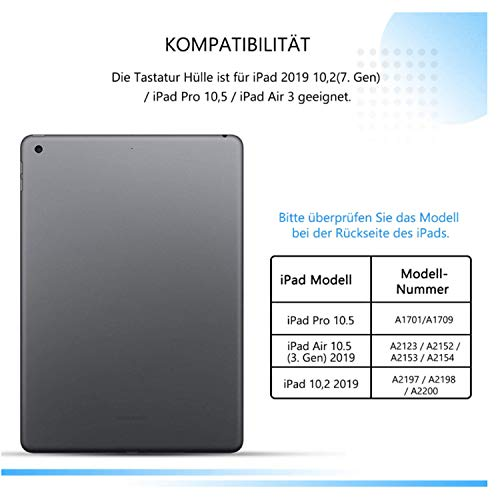 Jelly Comb Beleuchtete Tastatur Hülle für Neues iPad 2020/2019 10,2 Zoll(8./7. Gen), iPad Air 2019(3. Gen), iPad Pro 10,5 2017, Bluetooth QWERTZ Tastatur mit Schützhülle/Pencil Halter, Rosa