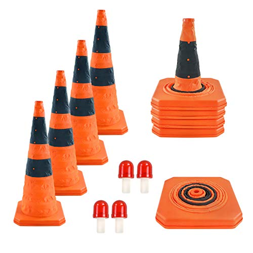 WHDZ 28 inch Collapsible Traffic Cones with LED Light Multi Purpose Pop up Reflective Safety Cones 4 Pack Orange