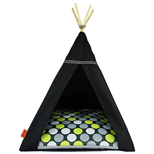 Halkalife Haustier-Zelt für Katzen und Hunde, M, Green Dots