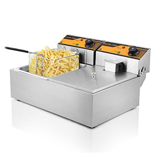 Autocompra Freidora Eléctrica 12L 5000W Freidora Industrial Acero Inoxidable para Patatas Fritas Deep Fryer Commercial (6L + 6L Tanque )