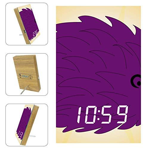 Nananma Digitaler LED-Wecker mit Igel-Aufdruck, USB-Ladeanschluss, Schlaf-Timer, Datum, Temperatur