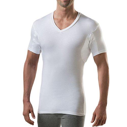 Camiseta à prova de suor masculina com enchimento de suor nas axilas (ajuste slim, gola V), Branco, X-Large