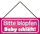 FS Bitte klopfen Baby schläft Blechschild Schild gewölbt Metal Sign 10 x 27 cm mit Kordel