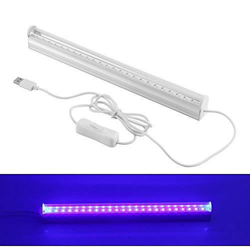 ONEVER UV-24-LED Schwarz Leuchte 6W Tragbare Schwarzlicht-Lampe für UV-Plakat UV Kunst Dimmbare Schwarzlicht-Lampe für DJ Party und Urlaub (1PC)