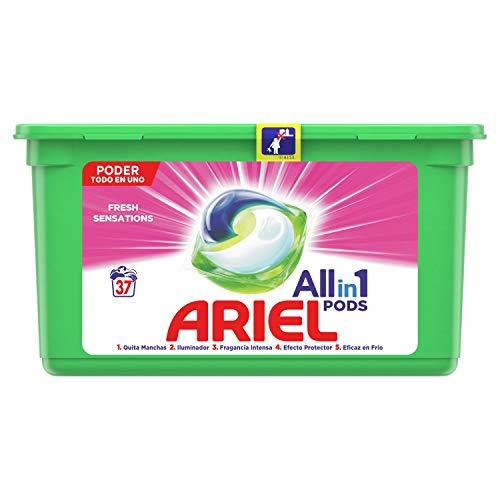Ariel Alles in één Pods Roze fris wasmiddel in capsules, 37 pods, 37 wasbeurten, perfect voor het wassen op lage temperatuur, langdurige geur.