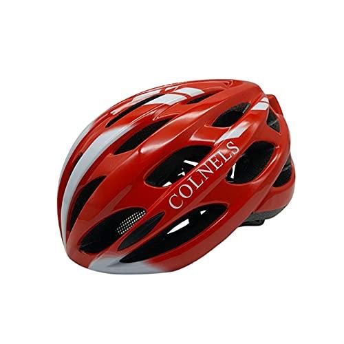 FDSJKD Casco de Bicicleta Ciclismo Ultralight LED Luz Recargable Cap Moldeado Intergrally EPS + PC MTB Bike Bike Sport Sport Safety Sombreros (Color : Red White, Size : L 58 62cm)