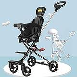 Cochecito de bebé, Carro Plegable Ligero liviano de Dos vías para niños, 遛 娃 神 娃 娃 简 Jianyangshangmaoyouxiangongsi (Size : Black+Red Pad+Red Peng)