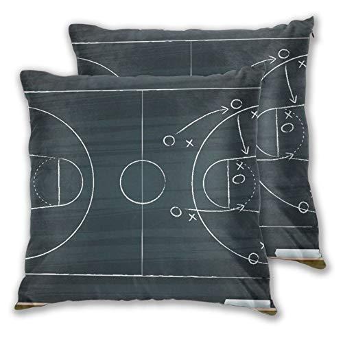 BROWCIN 2 Pack Funda de Almohada Dibujo a Mano de Tiza con Estrategia de Baloncesto Lino Suave Cuadrado Sofá Cama Decoración Hogar para Cojín 45cm x 45cm