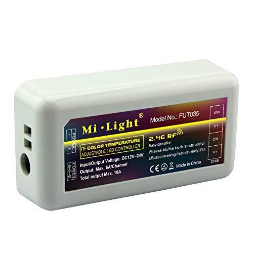 LIGHTEU, duale weiße WW/CW-LED-Streifensteuerung, Farbtemperatur warmweiß bis kaltweiß, original milight, (Fernbedienung nicht enthalten) FUT035